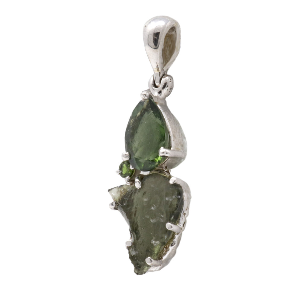 Moldavite Pendant - Prong Set Pear & Unpolished Freeform with Faceted Chrome Diopside & Rhodium Plated