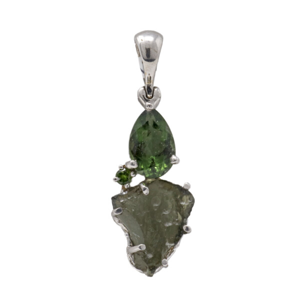 Closeup photo of Moldavite Pendant - Prong Set Pear & Unpolished Freefrom With Faceted Chrome Diopside & Rhodium Plated