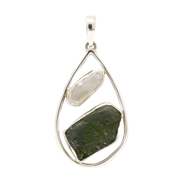 Closeup photo of Moldavite Pendant With Quartz Crystal
