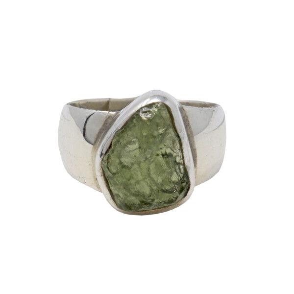 Closeup photo of Moldavite Ring - Unpolished Freeform With Silver Bezel On Wide Band Sz9