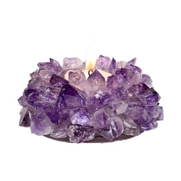 Closeup photo of Amethyst Crystal Point Candle Holder Medium