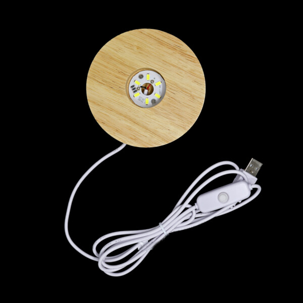 Closeup photo of Wooden Led Light Bases With Usb Plug