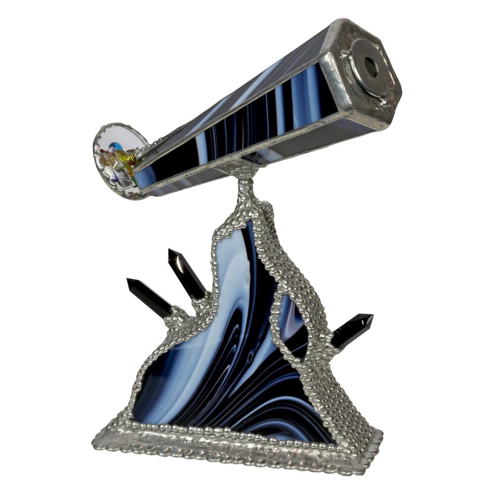 Kaleidoscope with Black & White Stained Glass & Black Onyx Points Artpiece