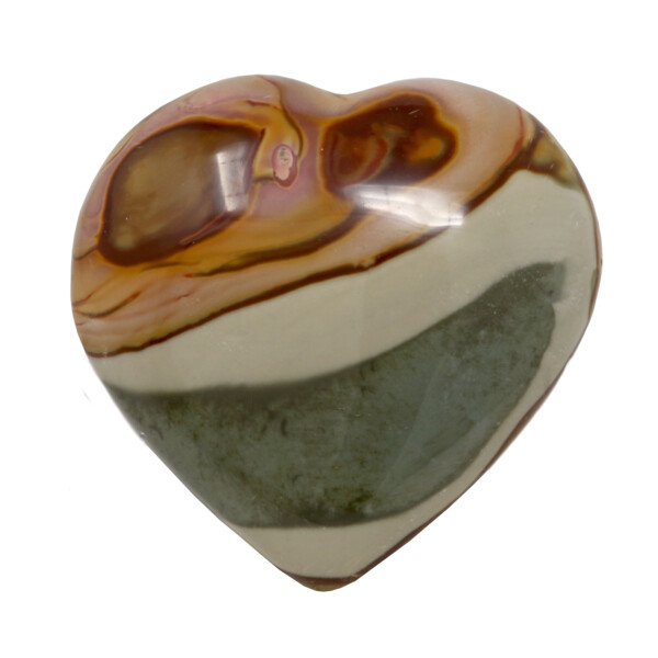 Closeup photo of Polychrome Jasper Heart With Cluster Stand
