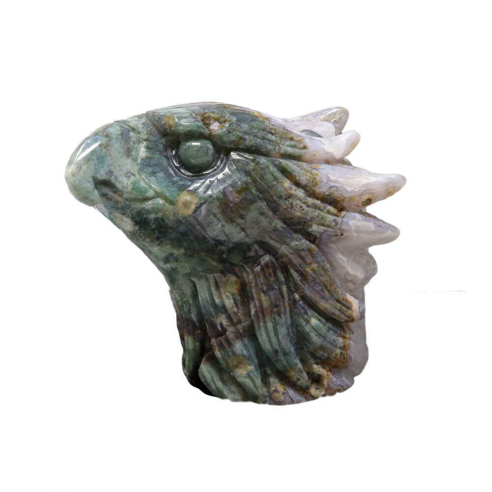 Agate Geode Eagle Head Carving - Moss Agate With White Druze Vugs