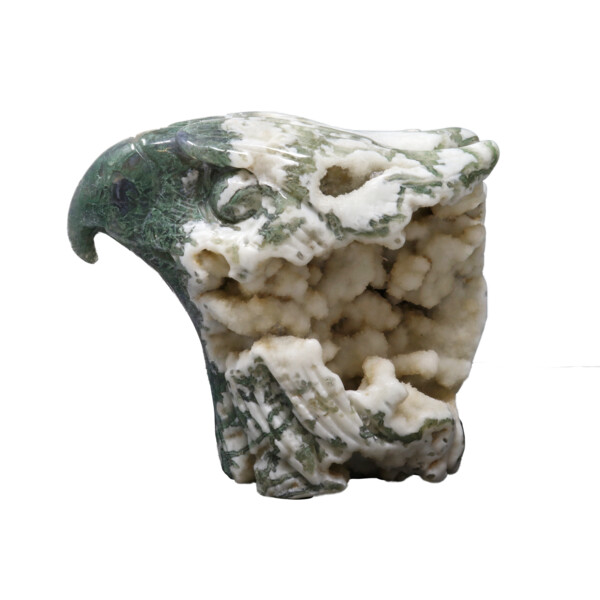 Closeup photo of Agate Geode Eagle Head Carving - Moss Agate With White Druze Vugs