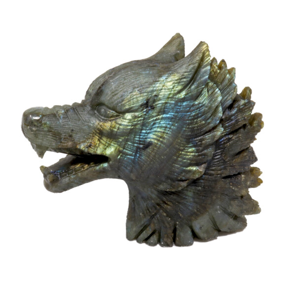 Closeup photo of Labradorite Wolf Head Carving