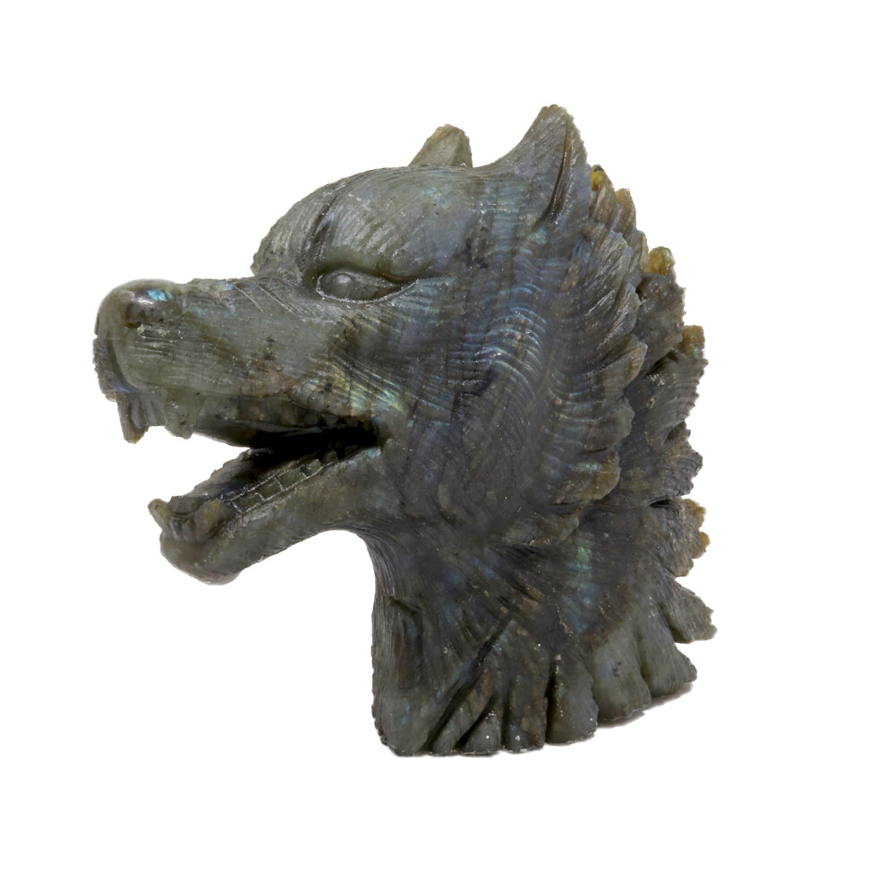 Labradorite Wolf Head Carving