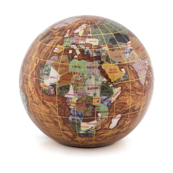 "Closeup photo of 4"" Inlay Globe Paperweight -Copper Opalite Ocean"