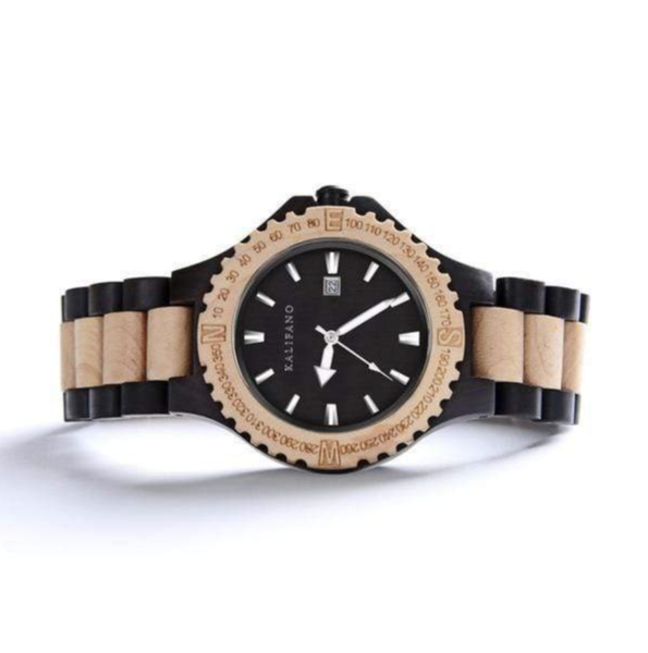 Closeup photo of Explore Black Sandalwood And Maple Wood Watch With Bamboo Box