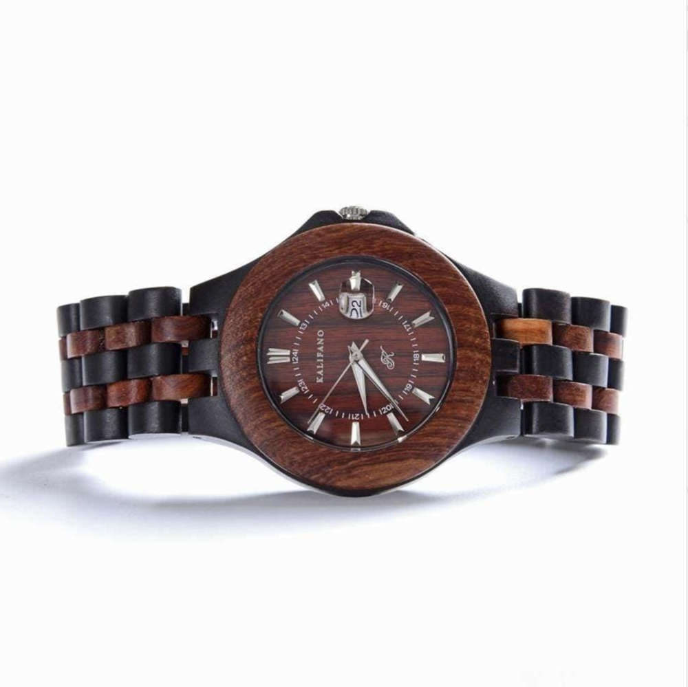 Explore Black & Red Wood Watch With Bamboo Box