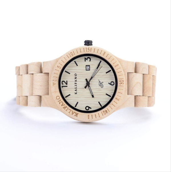Closeup photo of Explore Maple Wood Watch With Bamboo Box
