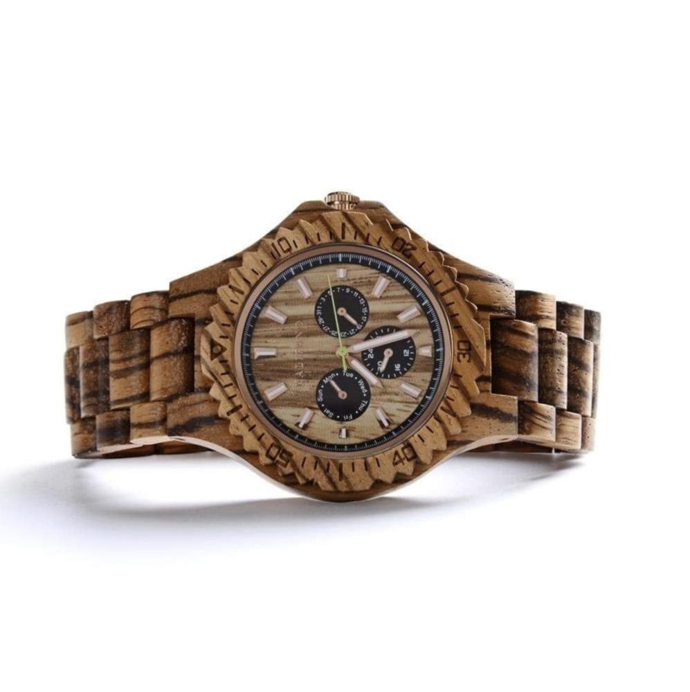 Nautical Zebra Wood Watch With Bamboo Box