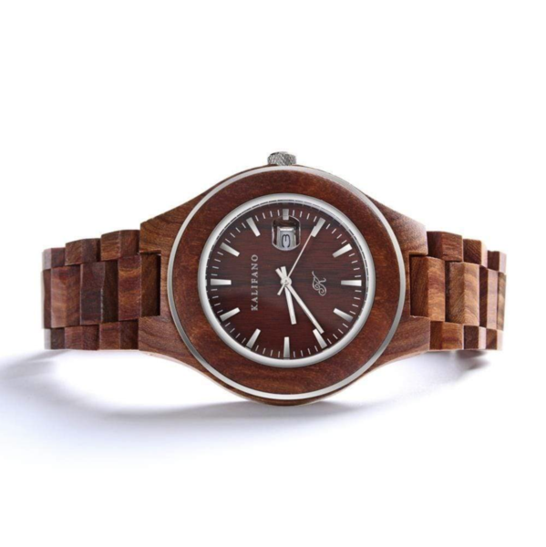 Closeup photo of Explore Red Sandalwood Watch With Bamboo Box