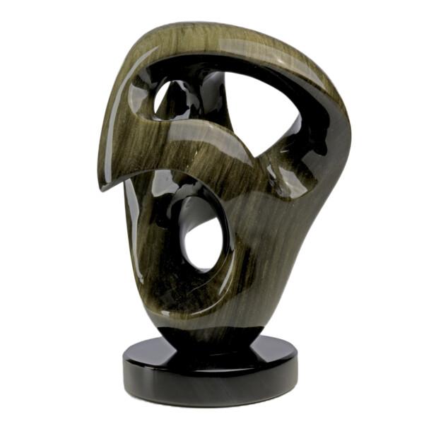 Closeup photo of Rare Black Gold Sheen Obsidian Sculpture