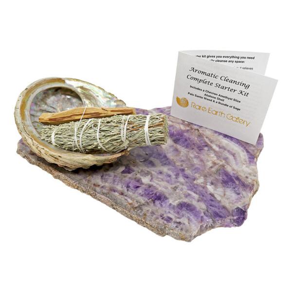Closeup photo of Aromatherapy Kit: Chevron Amethyst Platter With Abalone Shell & Palo Santo & Sage