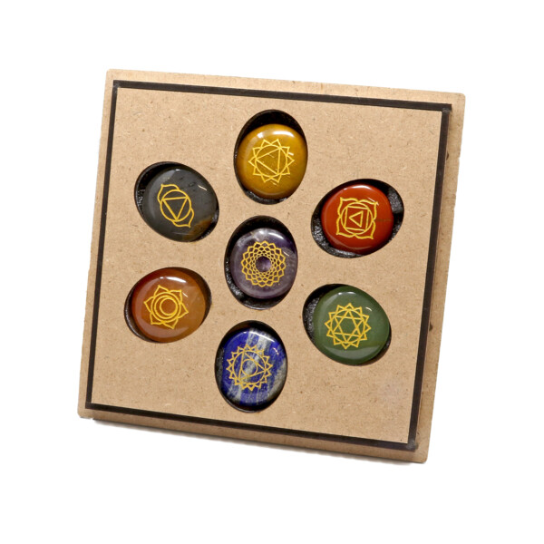Closeup photo of 7 Chakra Reiki Stone Set In Wooden Case