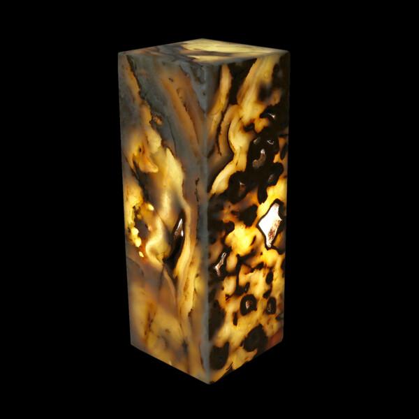 "Closeup photo of Onyx Pedestal Luminary - Tekkis 16"" Tall"