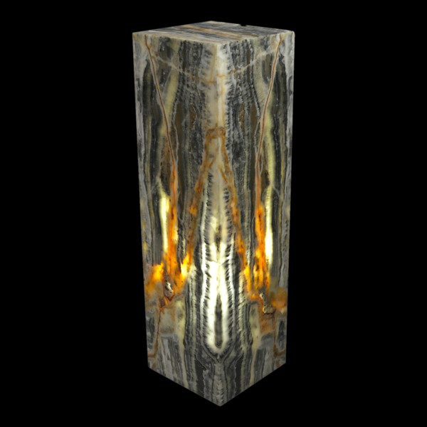 "Closeup photo of Onyx Pedestal Luminary - Black And White 16"" Tall"