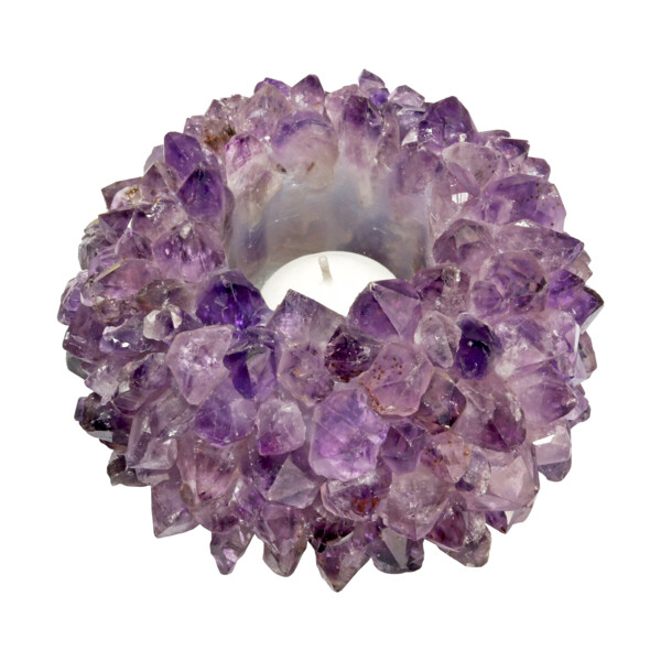 Closeup photo of Extra Large Amethyst Point Candle Holder