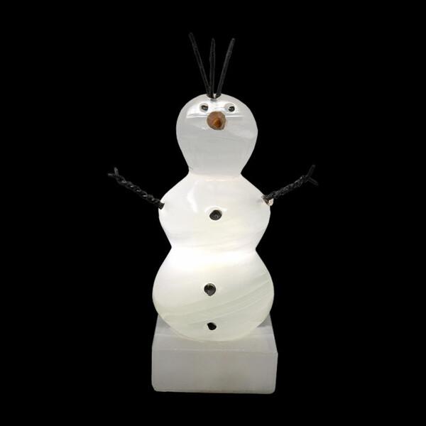 "Closeup photo of Nacar Onyx Snowman Sculpture ""Olaf"""