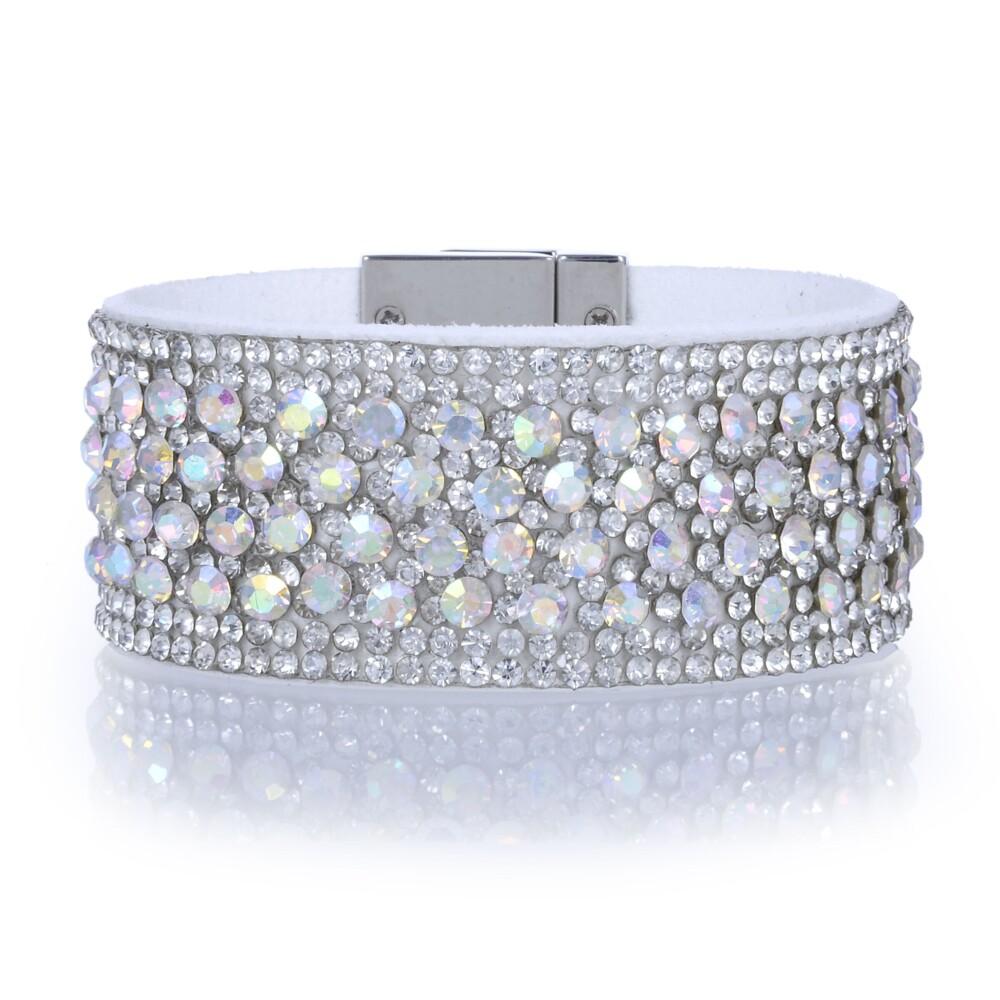 Narrow Crystal Wrap Bracelet -White Iridescent