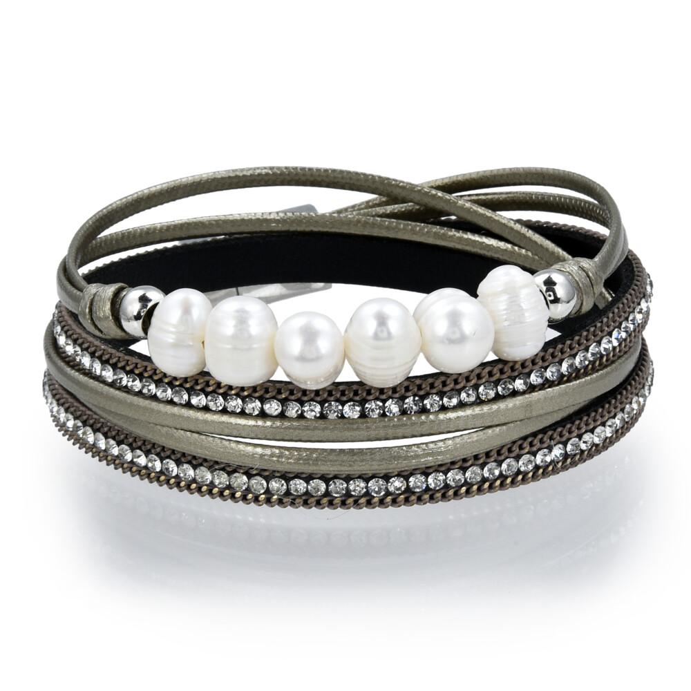 Double Wrap Pearl Bracelet - Green Gold