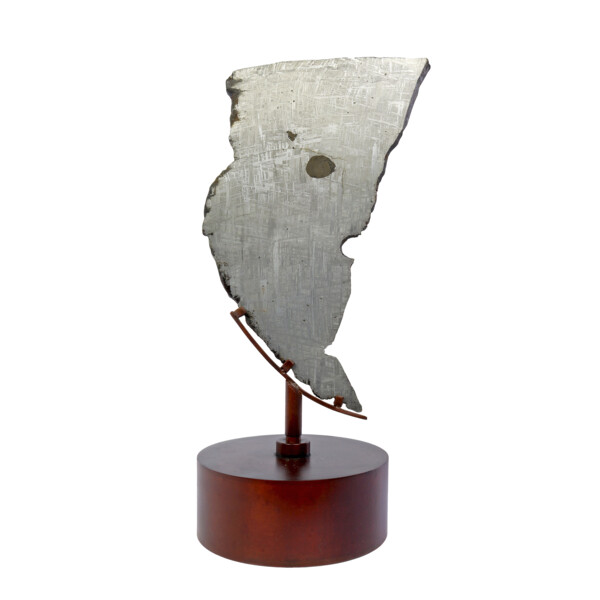 Closeup photo of Muonionalusta Meteorite Slice With Troyilite On Steel Spinner Stand