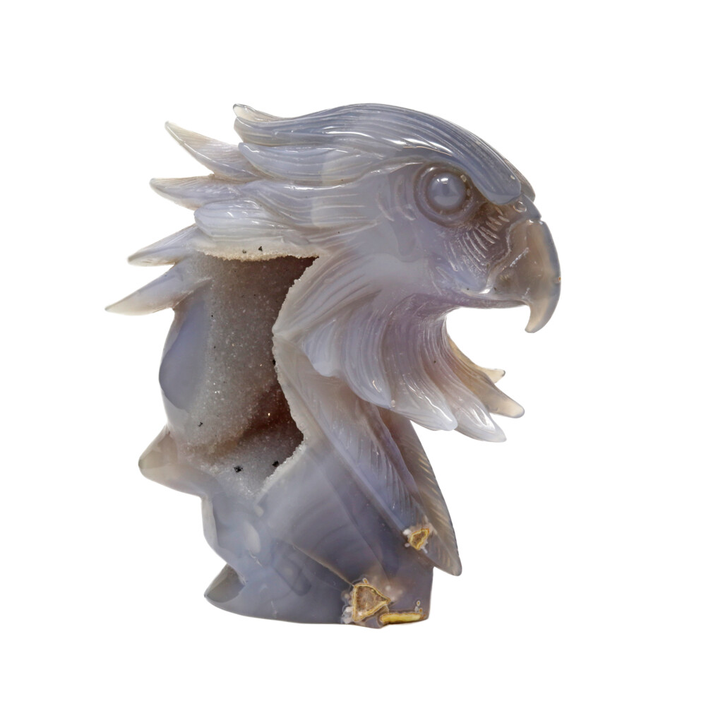 Druze Geode Agate Carving -Eagle Head