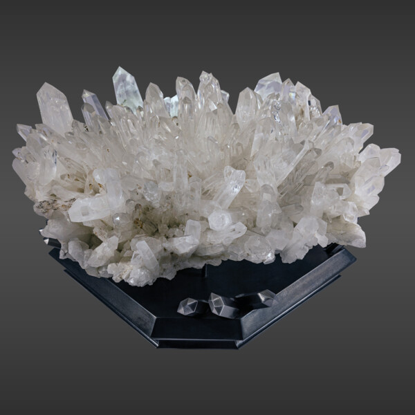 Closeup photo of Rare Colombian Quartz Crystal Cluster With Phantom Inclusions On Custom Artistic Stand