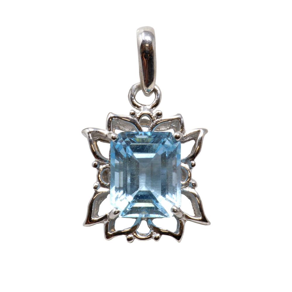 Blue Topaz Pendant - Emerald Rectangle With Silver Flower Petal Edges - Prong Set