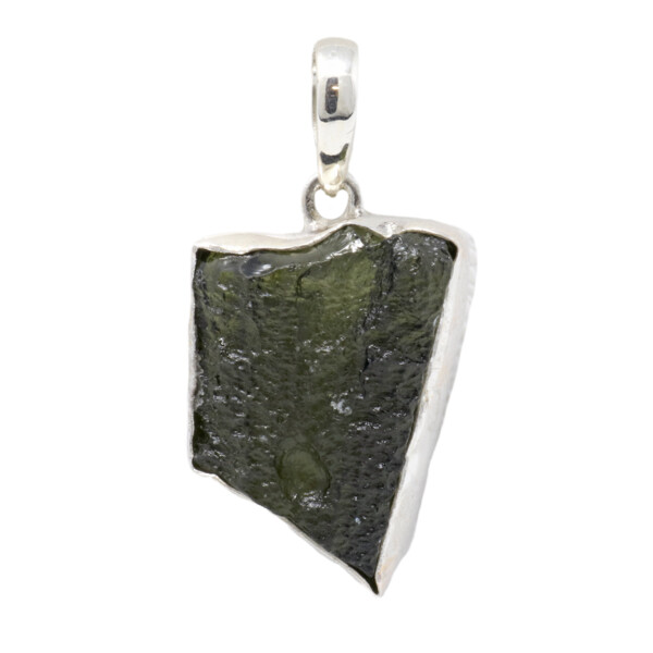 Closeup photo of Moldavite Pendant - Angular Freeform With Silver Bezel