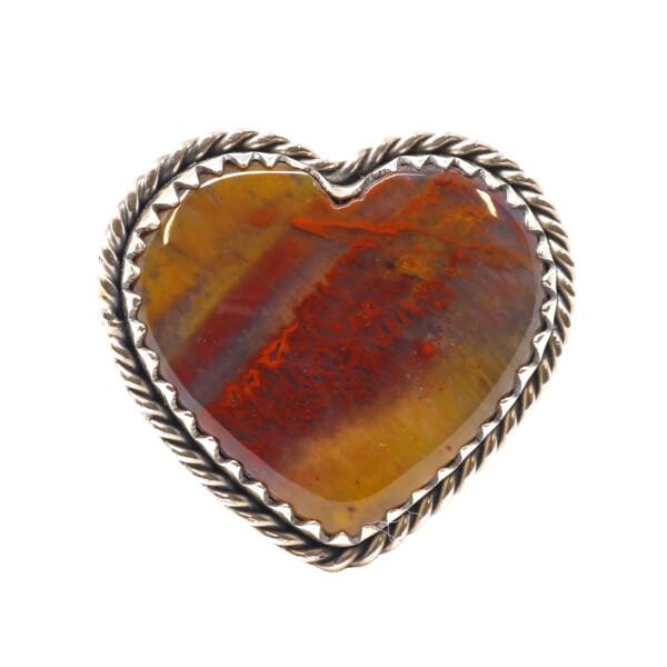 Closeup photo of Arizona Petrified Wood Ring - Heart Cabochon With Silver Rope & Beaded Bezel Edge With Sharp Scalloped Center Bezel Sz9