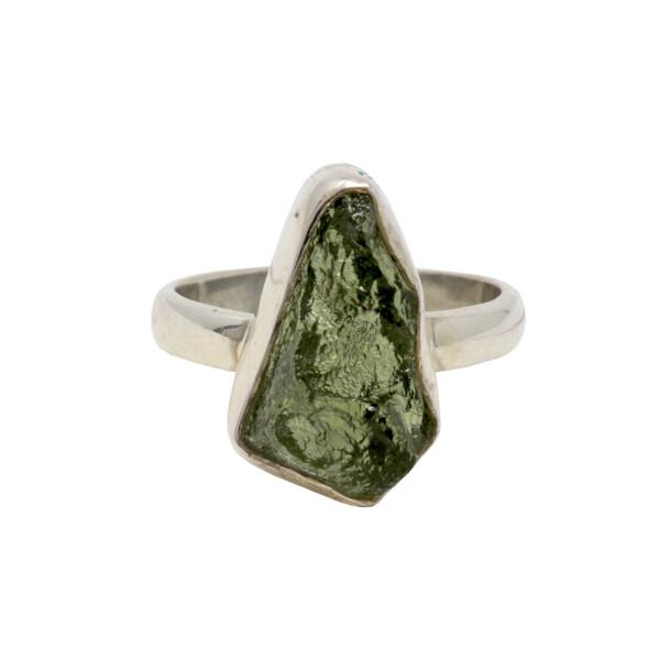 Closeup photo of Moldavite Ring - Rough Asymmetrical Pear With Silver Bezel Sz9