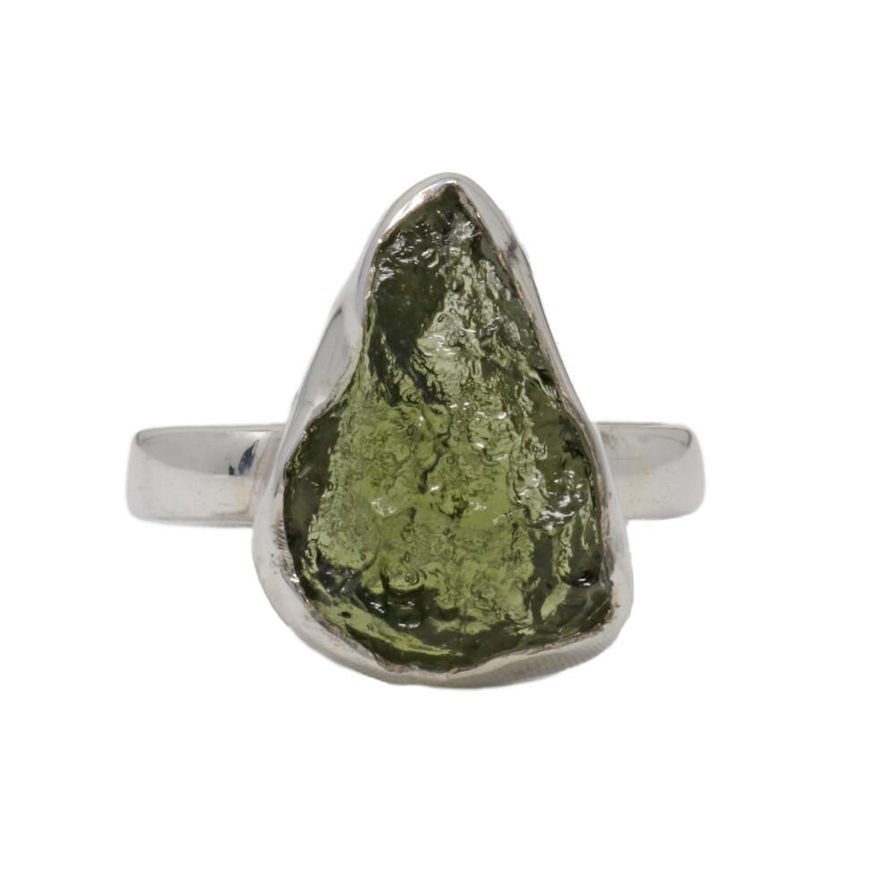 Moldavite Ring - Rough Flame Freeform With Silver Bezel Sz9