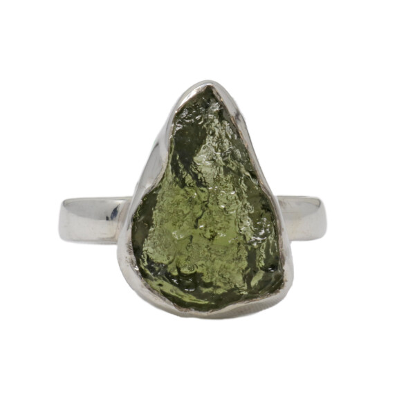 Closeup photo of Moldavite Ring - Rough Flame Freeform With Silver Bezel Sz9