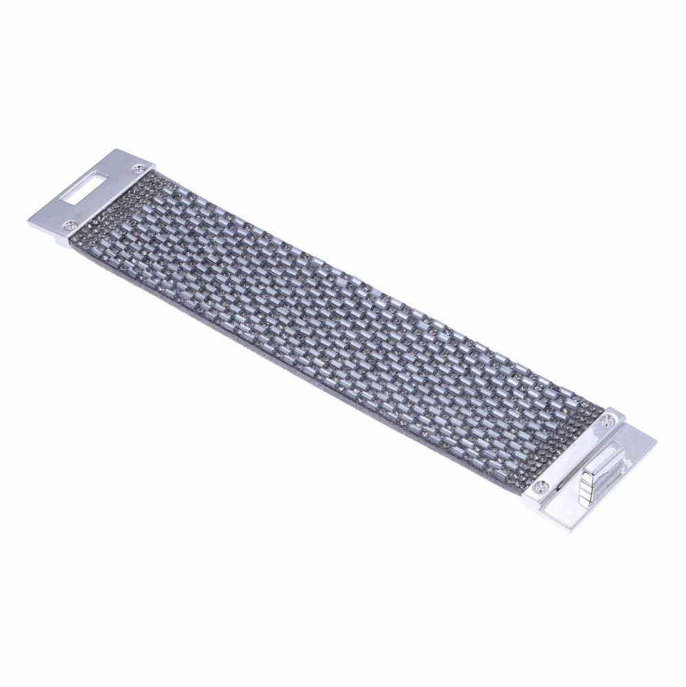 Wide Silver Gray Crystal Wrap Bracelet