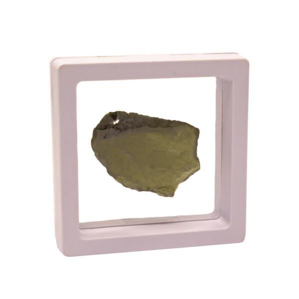 Closeup photo of Moldavite Tektite Nugget in Gel Case