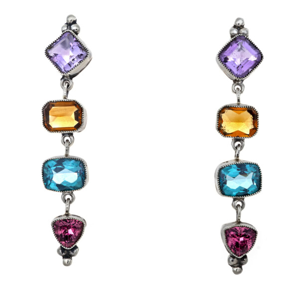 Closeup photo of Multi Gemstone Dangle Earrings On-post - Faceted Amethyst & Citrine With Blue Topaz & Pink Tourmaline