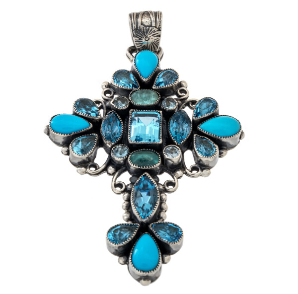 Closeup photo of Blue Topaz & Turquoise Cross Pendant With Silver Beading & Wiring With Flower Stamped Bail
