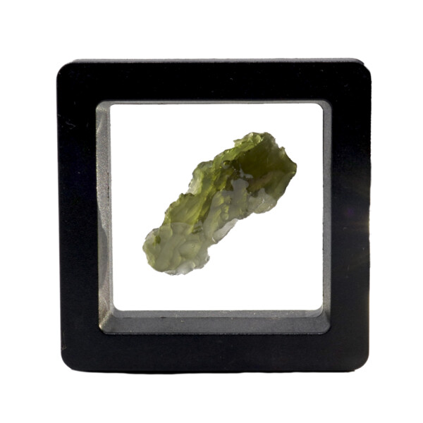 Closeup photo of Moldavite Tektite Raw Nugget -Elongated In Gel Case