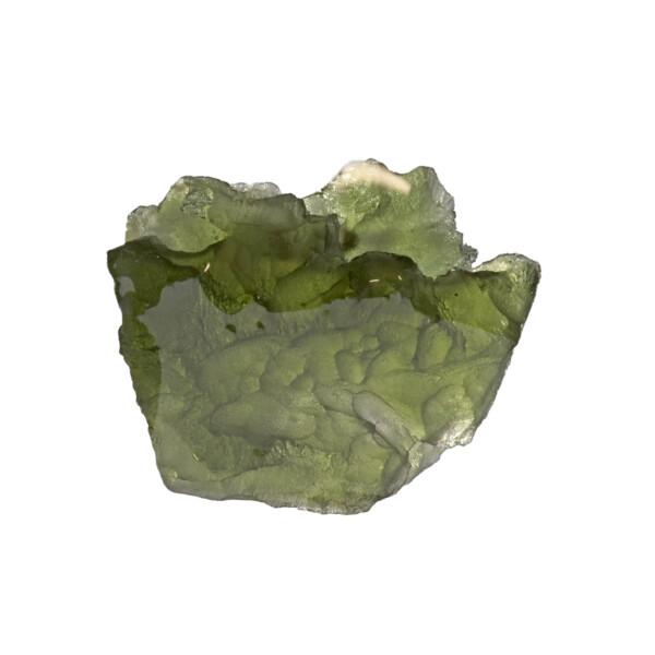 Closeup photo of Moldavite Tektite Raw Nugget -Trapezoid With Ridge In Gel Case