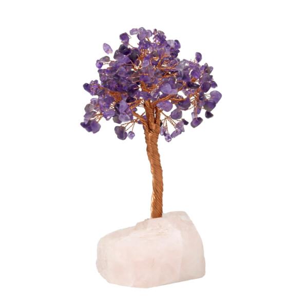 Closeup photo of Amethyst Beaded Tree Of Life On Quartz Base With 282 Natural Gemstones
