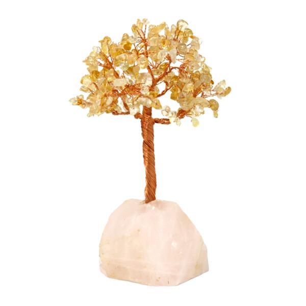 Closeup photo of Citrine Beaded Tree Of Life On Quartz Base With 282 Natural Gemstones