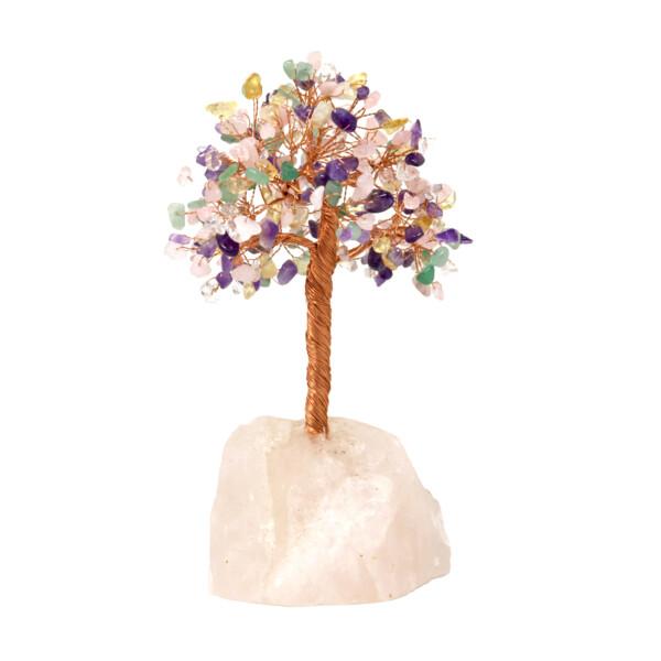 Closeup photo of Multi-gemstone Beaded Tree Of Life On Rose Quartz Base With 282 Natural Stones