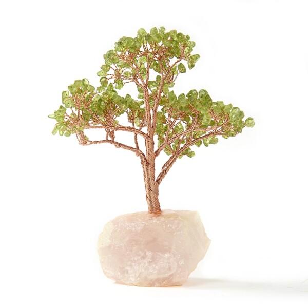 Closeup photo of Peridot Beaded Tree Of Life On Quartz Base With 282 Natural Gemstones