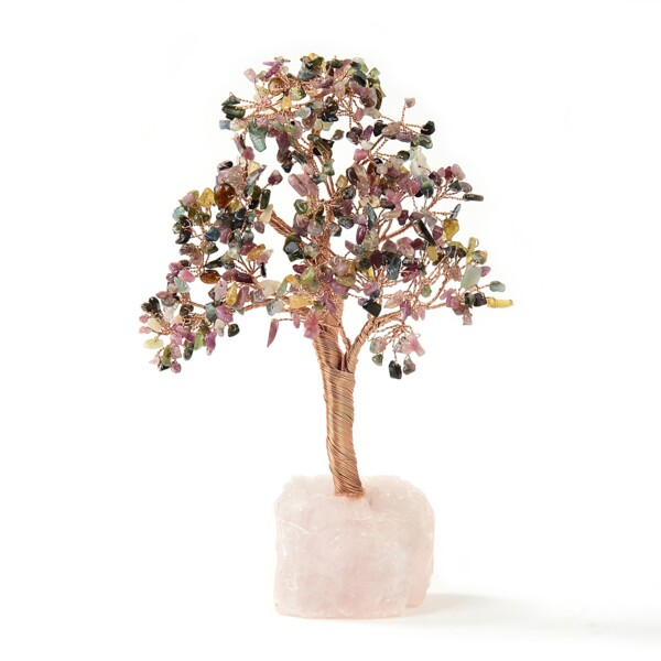 Closeup photo of Multi-tourmaline Beaded Tree Of Life On Rose Quartz Base With 282 Natural Stones