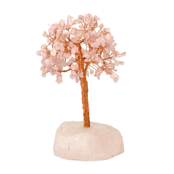 Closeup photo of Rose Quartz Beaded Tree Of Life On Quartz Base With 282 Natural Gemstones