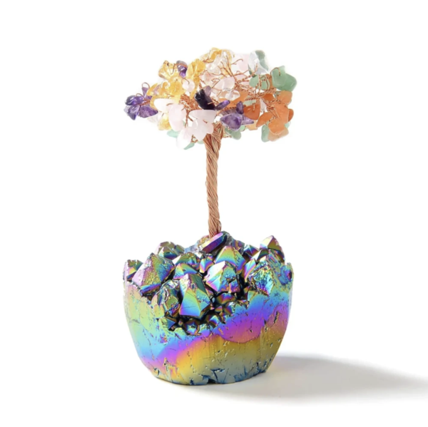 Closeup photo of Multi-colored Natural Gemstone Beaded Tree Of Life With Titanium Coated Quartz Base