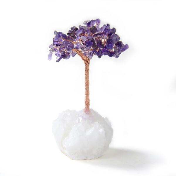 Closeup photo of Amethyst Beaded Tree Of Life With Crystal Quartz Base